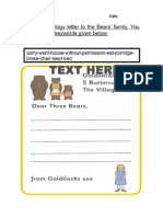 T T 522 Goldilocks Letter to the Three Bears Editable
