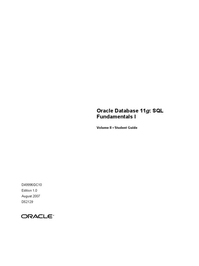 Oracle Database 11g Sql Fundamentals I Vol2 Pdf Sql Table