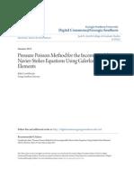 Pressure Poisson Method Using Galerkin FE for NS EQ.