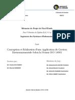 Conception et Réalisation d'une Application de Gestion Environnementale Selon la Norme ISO 14001