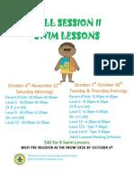 Fall Session II Swim Lessons 2014