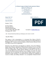 Letter to Brent Wilkes Regarding September 2014 LULAC National Executive Board Meeting