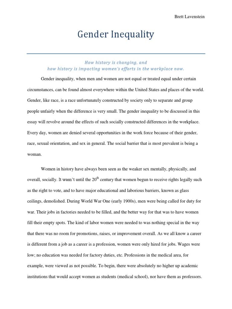 Gender Inequality Essay  Gender Inequality  Housewife