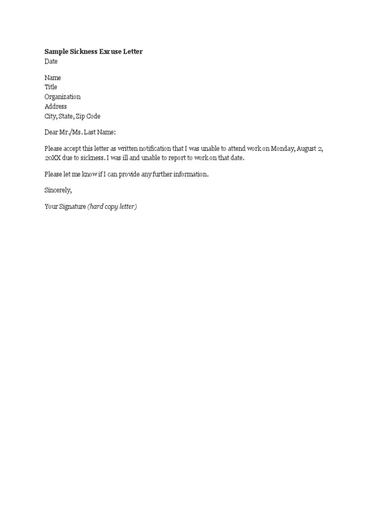 Sample Excuse Letter For Work from imgv2-2-f.scribdassets.com