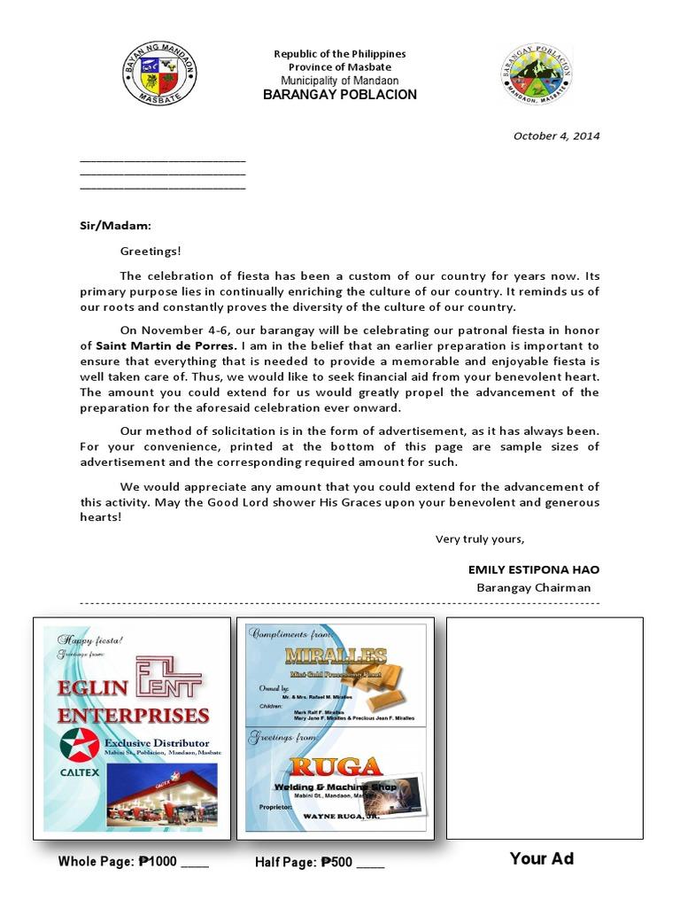 solicitation letter for fiesta 2014