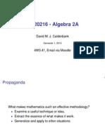 Algebra 2A Lecture 1