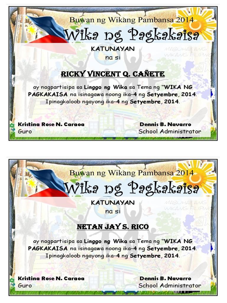Certificate buwan ng wika filipino for Ng include ng template