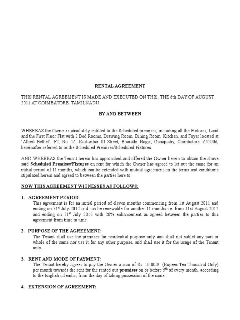 Rental Agreement Salem Leasehold Estate Lease