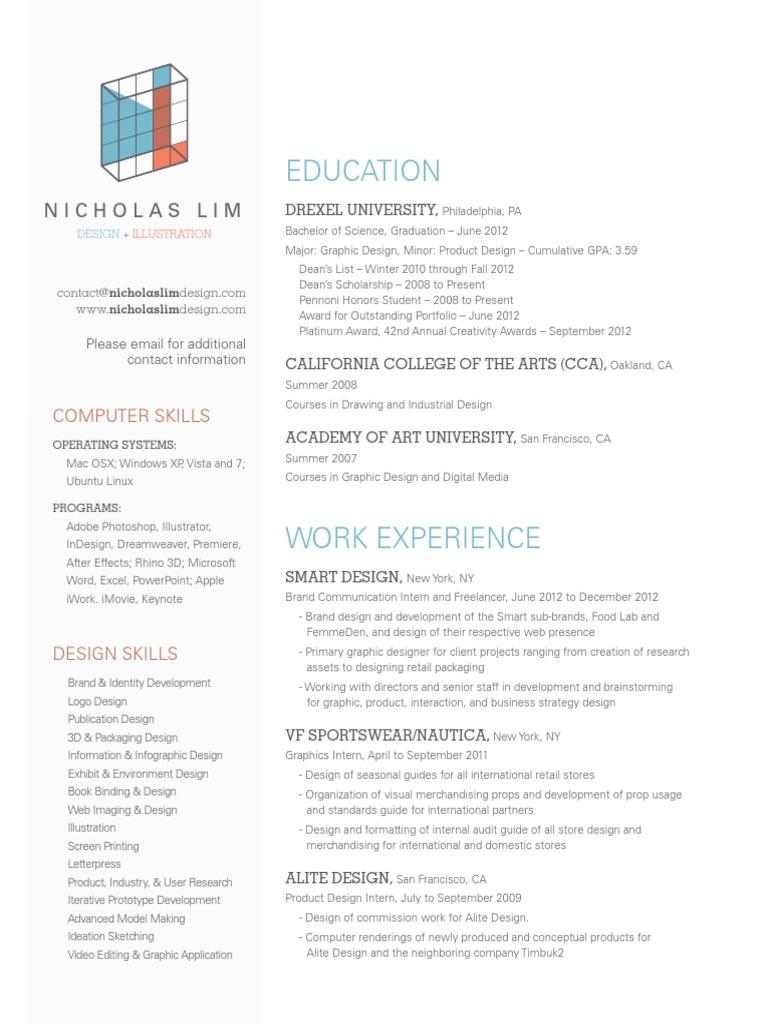 Nicholas Lim Resume | Graphic Design | Design