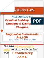 Criminal Liability on Dud Cheques & Dishonor of Cheques