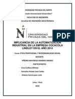 Implicancia de La Automatizacion Industrial en La Coorporacion Lindley en El 2014
