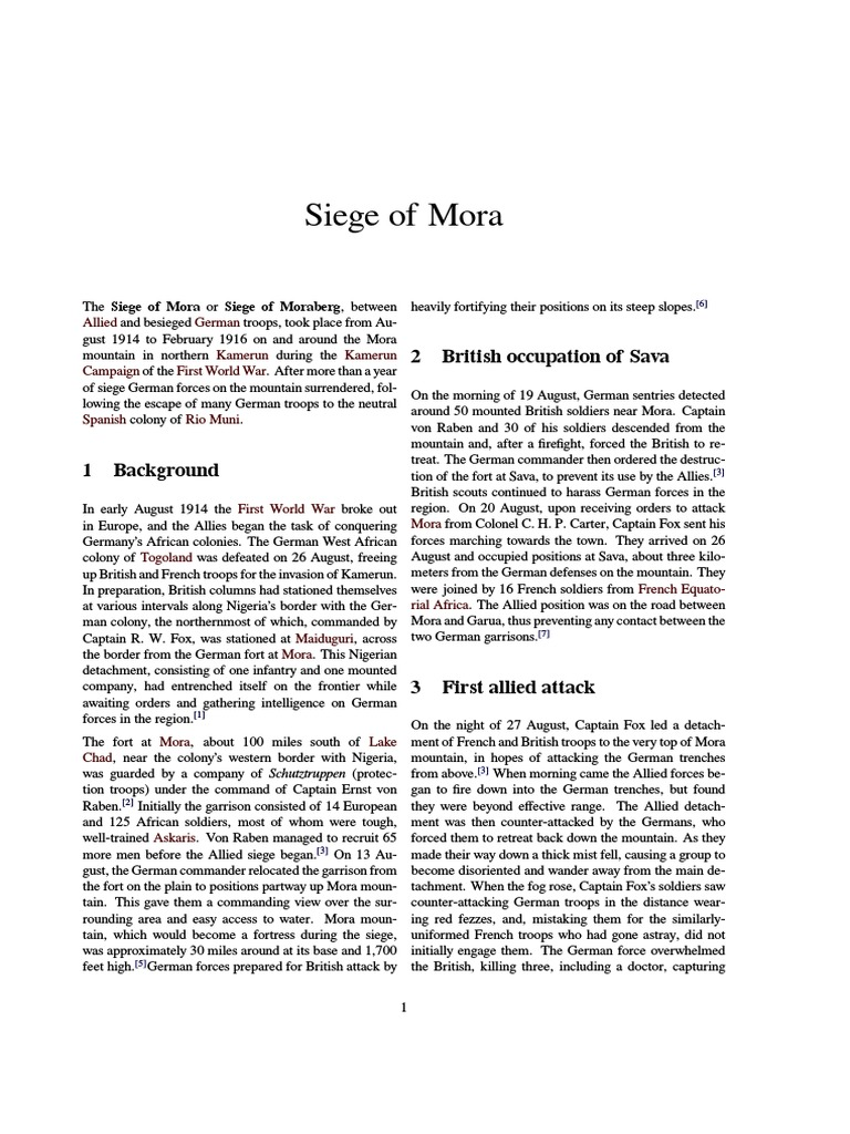 Siege of Mora.pdf | Foreign Relations Of Germany | World War I