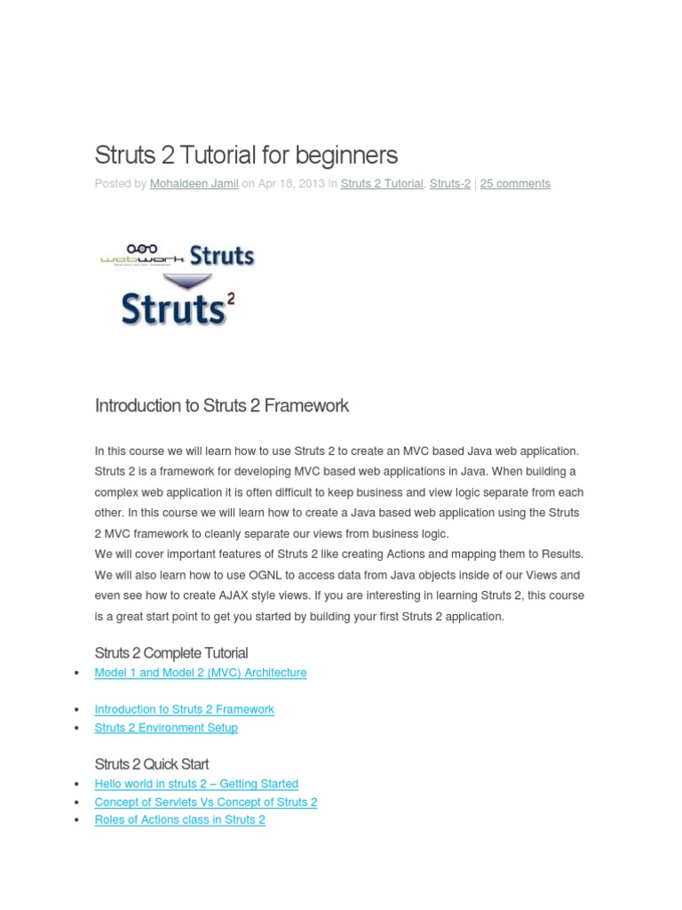 Manual Struts 2 Tutorial for beginners docx | Model–View