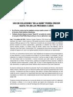"""Telefónica Grandes Empresas (TGE) informó que proyecta que el uso de soluciones """"en la nube"""" o """" cloud """"  crecería en 70% durante los próximos 3 años para las medianas y grandes empresas (B2B) que operan en el Perú"""