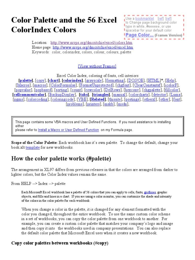 Workbooks copy formulas between workbooks : Color Palette and the 56 Excel ColorIndex Colors.pdf | Magenta ...