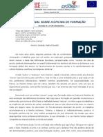 REFLEXÃO FINAL SOBRE A OFICINA DE FORMAÇÃO