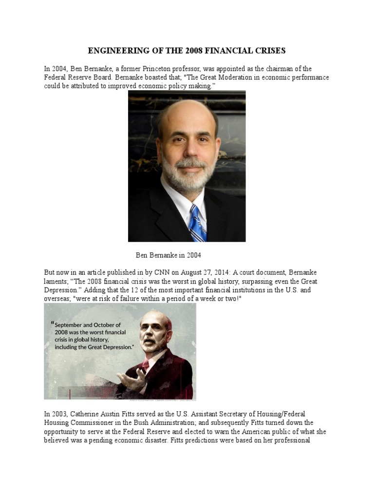 Engineering of the 2008 Financial Crises | Ben Bernanke (26
