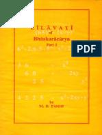 Lilavati of Bhaskaracarya Part I - M.D. Pandit