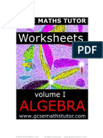 E-Book 'Worksheets Volume #1 - Algebra' revision from GCSE Maths Tutor