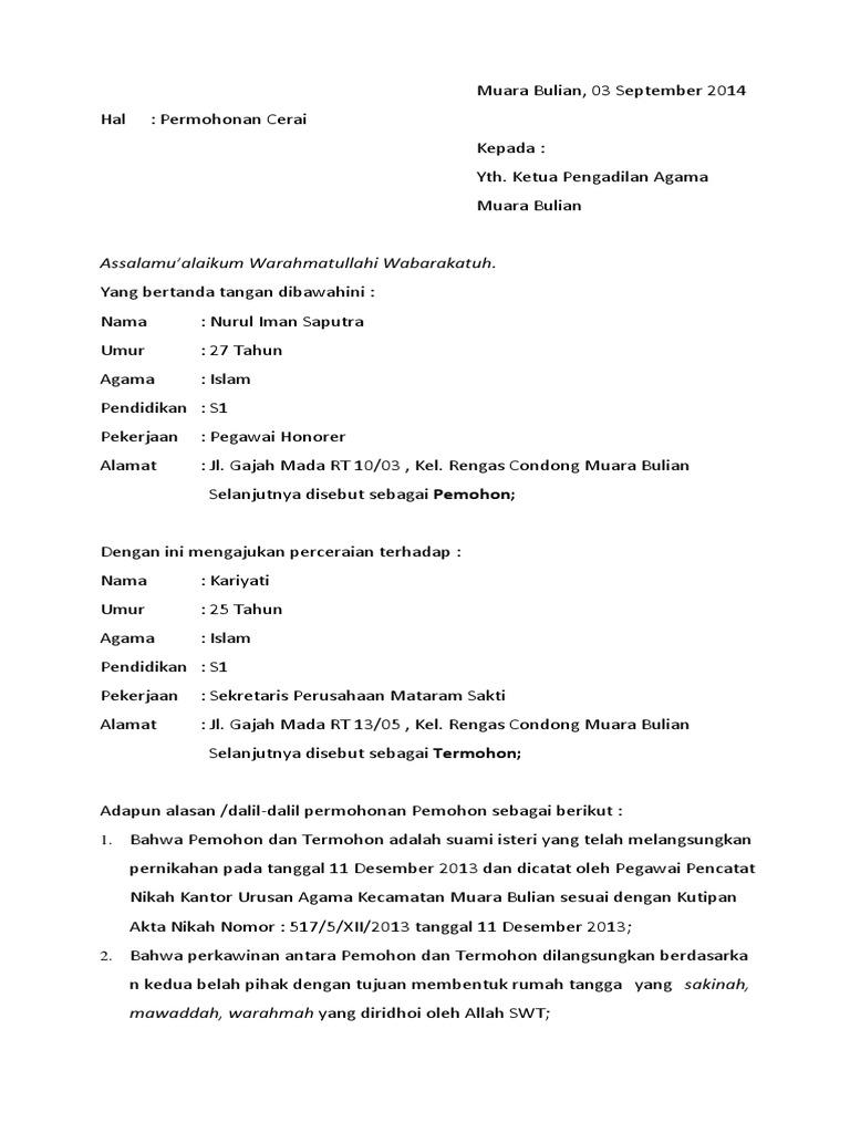 Surat Permohonan Cerai