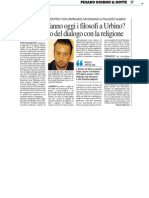 Ma cosa fanno oggi i filosofi a Urbino?  Discutono del dialogo con la religione