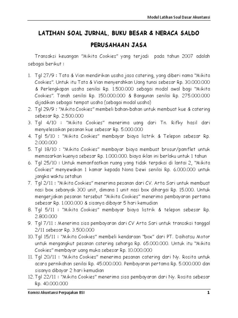 Contoh Soal Jurnal Umum 10 Transaksi Kumpulan Soal Pelajaran 6