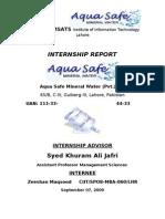 Aqua Safe Mineral Water Internship Report