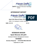 Aqua Safe Mineral Water Internship Report