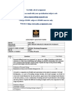 MB0046- Marketing Management Fall 2014