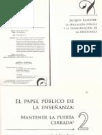 JACQUES RANCIERE LA EDUCACION PUBLICA Y LA DOMESTicaci+¦n de la democracia.pdf