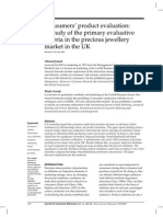 A Study of the Primary Evaluative Criteria in the Precious Jewellery Market in the UK