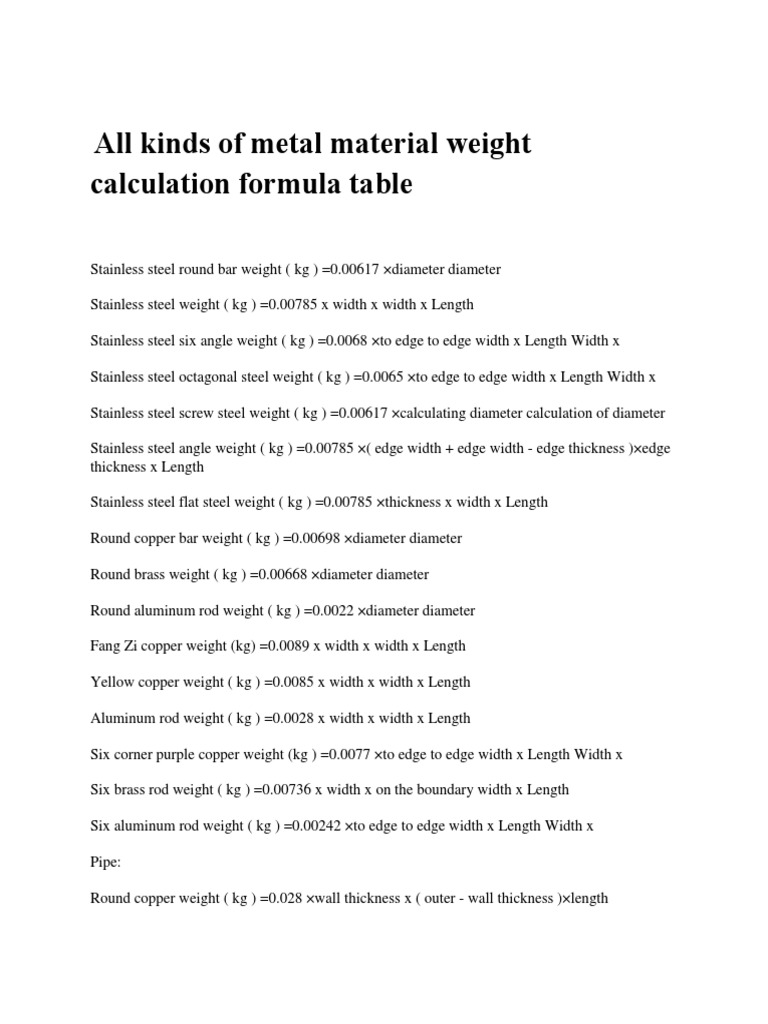 All kinds of metal l weight calculationpdf nvjuhfo Choice Image