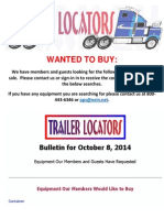 Wanted to Buy Bulletin - October 8, 2014