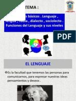 Conceptos básicos . Lenguaje , lengua , habla , dialecto , sociolecto . Funciones del Lenguaje y sus niveles ..pptx