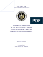 Report of Investigation of the Trace Evidence Section of the NYSP Forensic Investigation Center