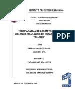 Estudio comparativo de metodos para el análisis de taludes