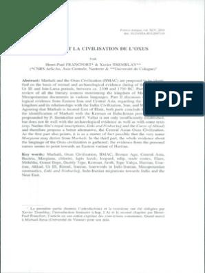 Francfort Et Tremblay Marhasi Et La Civilisation De L Oxus Pdf Archaeology Of Iraq Archaeology