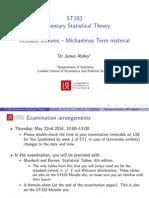 ST102 Michaelmas Term Revision