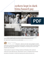 Nuclear Workers Kept in Dark on Fukushima Hazard Pay
