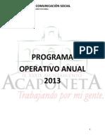 Plan Operativo Anual de Comunicacion Social