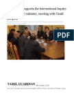 UK Strongly Supports the International Inquiry Reiterates FCO Minister, Meeting With Tamil Diaspora
