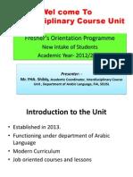 Wel Come to Interdisciplinary Course Unit