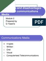 Advantages and Disadvantages of Principal Communications Media