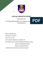CHM 260 Report Exp 2 UV