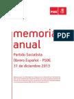 Memoria Anual de las finanzas del PSOE (Año 2013)