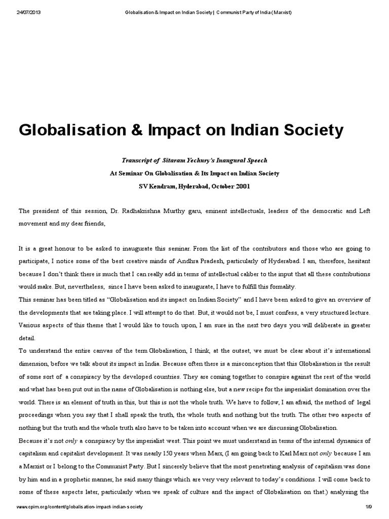 globalisation in indian society