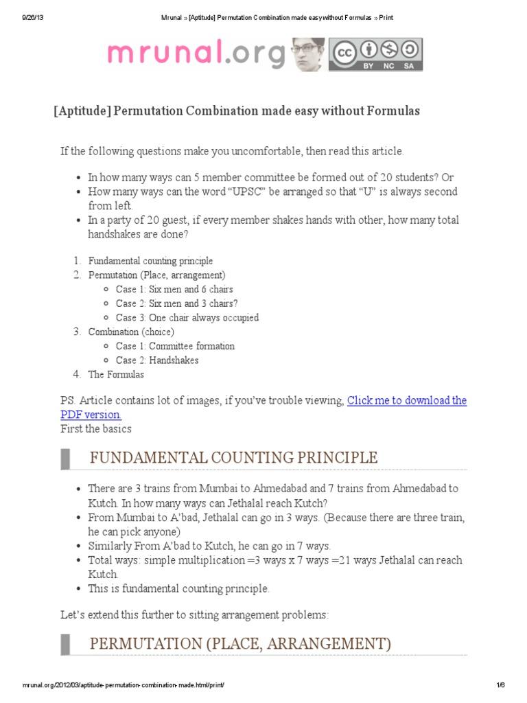 1  [Aptitude] Permutation Combination made easy without