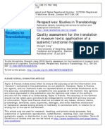 Quality Assessment Translation Museum Texts (2010)