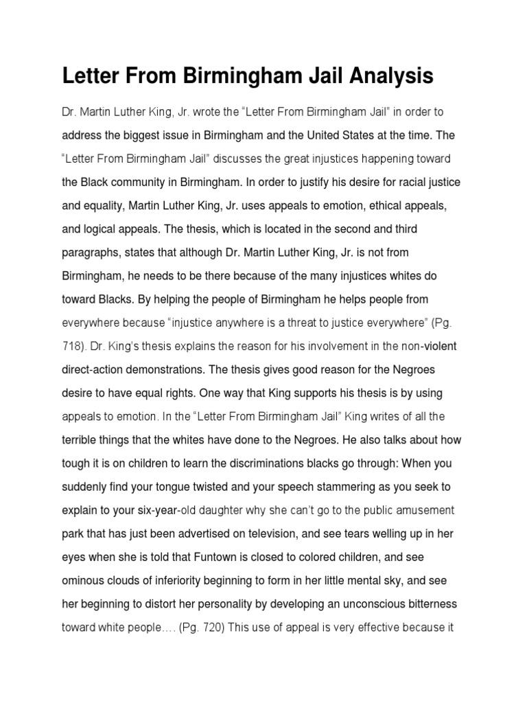 analysis on letter from birmingham jail