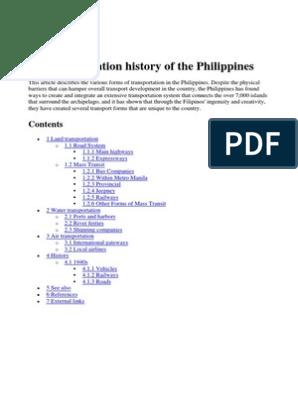 Transportation History Of The Philippines Metro Manila Economy Of The Philippines